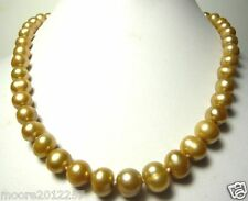 Stunning 9-10MM Freshwater golden pearl necklace 18""