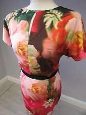 TED BAKER FLORAL PENCIL  DRESS IN SIZE 10/2 - RED/PINK - LINED