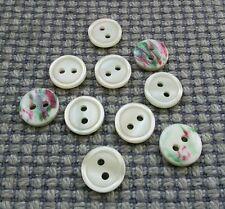 10 vintage piccoli pulsanti Bianco 12mm BABY DOLL CLOTHES Card Making artigianato 2 FORI