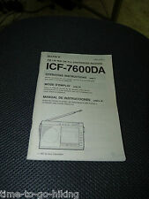 ORIGINAL SONY ICF-7600DA OWNERS MANUAL 68 PAGES
