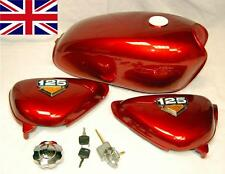 NEW HONDA CB100 CB125 S - J TANK - SIDE PANELS & BADGES - FUEL CAP & TAP IN RED