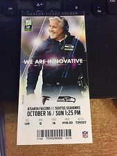 2016 SEATTLE SEAHAWKS VS ATLANTA FALCONS TICKET STUB 10/16 PETE CARROLL