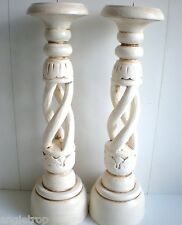 BALI SET 2 SPIRAL WOOD CARVED CANDLE STICK HOLDERS PAIR BALINESE 40CM