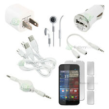 10 pcs Bundle White USB Cable+2x Charger+Headset for Android Motorola Moto X 4G