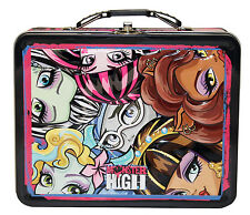 Monster High Metal Tin Lunch Box Close Up NEW Carrier Toys Tote Cute Kids Teens