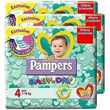 6 PACCHI PANNOLINI PAMPERS BABY DRY TAGLIA 4 ASCIUTTO BAMBINO 3 STRATI 114 PZ.