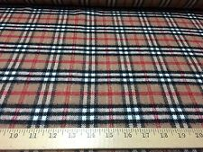 """Camel/Black/Red Plaid With Metalic Stitch Lines Wool Blend Fabric 58"""" W BTY"""
