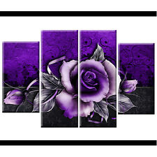 Plum Purple Rose Floral Canvas Wall Art Pictures Wide XL Print Flower BIG A2 O35