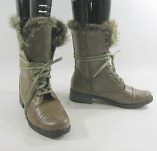 brown fur Rugged Military Combat Riding Winter  ankle sexy boots   size  7