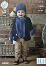 KNITTING PATTERN Childrens Cable Hat Scarf and Mittens Aran King Cole 4560