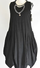 FAB SARAH SANTOS  100% LINEN pocket front parachute dress size S/M BLACK
