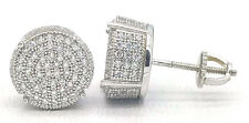 925 Sterling Silver 14k Wht Gold Finish Pave CZ Cubic Zircon Stud Earrings Round