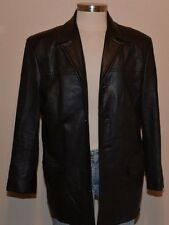 Albert Nipon City Black Genuine Soft Leather Jacket Long Blazer Coat Men's 42R