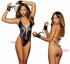 BLACK WET LOOK TEDDY Faux Leather HIGH CUT Deep-V Front WRIST RESTRAINTS Lace OS