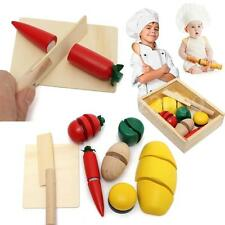 Pretend Play Cutting FOOD Vegetable BREAD Wooden Fruit BOX kid Educational Toy