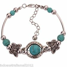 Tibetan Style Silver Bracelet Turquoise Butterfly Bead Adjustable Bangle