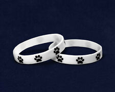 Lot of 50 Paw Prints Silicone Bracelets