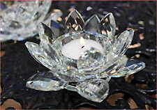 Crystal Cut Faceted Lotus flower Tealight Candle Holder Wedding Home Gift 16cm