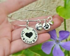 Pet Rescue Expandable Wire Bangle Bracelet Paw Sterling Silver Plt Charm Dog Cat