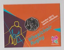 WHEELCHAIR RUGBY - Rare 50p Olympic 2012 Fifty Pence Uncirculated Coin in Folder