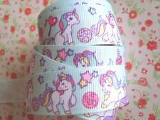 1M x Super Cute Baby Unicorn GROSGRAIN RIBBON, Craft, Hair Bow,Cake 22MM UK