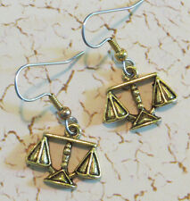 Attorney Lawyer Scales Justice Earrings 24 Karat Gold Plate