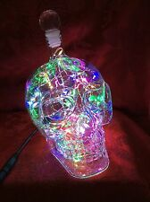 NEW Bling Electric LAMP 550ml SKULL HEAD Crystal BOTTLE DECANTER Colored LEDs