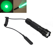 2000LM Green LED Tactical Flashlight Torch Hunting Lamp+ Remote Pressure Switch