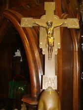 PROZESSIONSKREUZ  Tragekreuz  Vortragekreuz  sakral Messing mit Holzstab 206cm