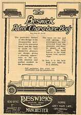 1920 Old Original Vintage BESWICK Char-a-banc BUS Motor Body Auto Art Print AD