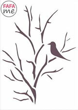 15 x 21 cm Stencil Rustic, Old style, birds, trees, Vintage, Decoupage-SM021