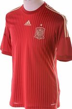 $90 Adidas Performance FEF Spain Home Jersey Victory Red Football Gold Men's M