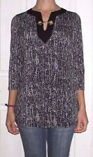 New with Tags Womens Large Michael Kors Black White Gold Chain Accent Top Blouse