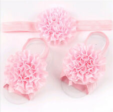 1set /3Pcs Baby Infant Headband Foot Flower Elastic Hair Band Accessories Pink #