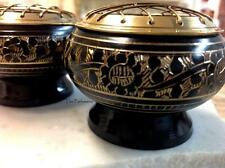 Small Round Indian Black & Brass Decorated Resin/ Incense Burner with Screen