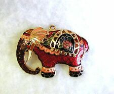 PAINTED ELEPHANT Brooch Pin Pendant Layered Sculpted Enamel on Metal Goldtone