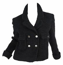Chanel Black Wool Mohair tweed Boucle Double Breasted Jacket size 38 France 97A