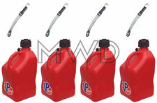4 Pk Red VP 5 Gallon Racing Fuel Jug/Gas Can containers & 4 Deluxe Hoses IMCA