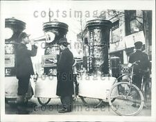 1935 Japanese Postal Worker With Portable Mail Boxes Tokyo Press Photo