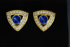 Gold Toned Triangle Shape Blue Stone Inside Round Clear Diamond Clip Earrings