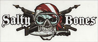 """Harpoons Skull Spearguns Salty Bone Decal Sticker Gifts Scuba Divers 4""""x10-3/4"""""""
