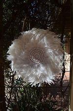 Juju hat. Round White feather & Shell wall feature art.