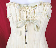 Antique WB Corset Longline Sweetheart Bust Lace Bow Edwardian Garters Victorian