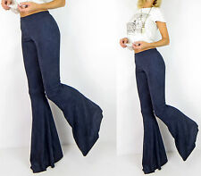 LONG Navy FAUX SUEDE Stretch Sexy Boho Hippie Flare Wide Bell Bottoms Pants S