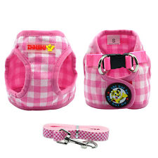 13'' Chest Pink Grid Small Dog Puppy Vest Harness and Lead Soft for Dogs Yorkie