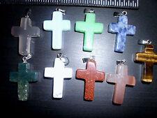 Wholesale Lot 9 PCS Small Fashion Natural Gemstone Stone Cross Pendant
