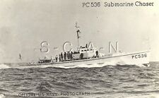 WWII Original Official US Navy RPPC- Warship- PC536 Submarine Chaser- PM 1944