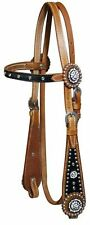 SHOWMAN WESTERN HORSE BRIDLE HEADSTALL WITH BLUE BLING CRYSTALS AND RHINESTONES