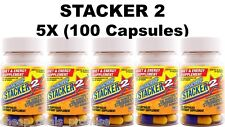 Stacker 2 Capsules 20 ct Weight Loss Energy Dietary Sup (Lot 5 X Bottles) = 100
