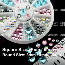 Nail Art Decoration 4 colors Square Round Iridescent Rhinestone + Wheel #EB-084